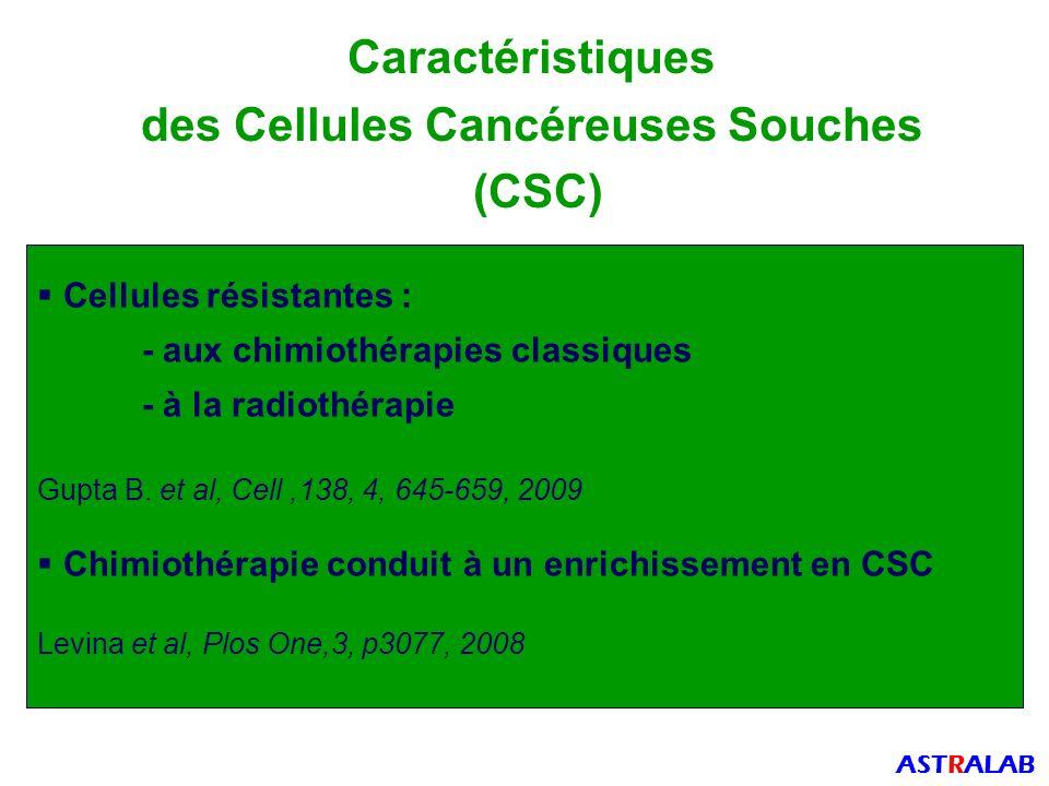 Caractéristiques des Cellules Cancéreuses Souches (CSC) Cellules résistantes : - aux chimiothérapies classiques - à la radiothérapie Gupta B.