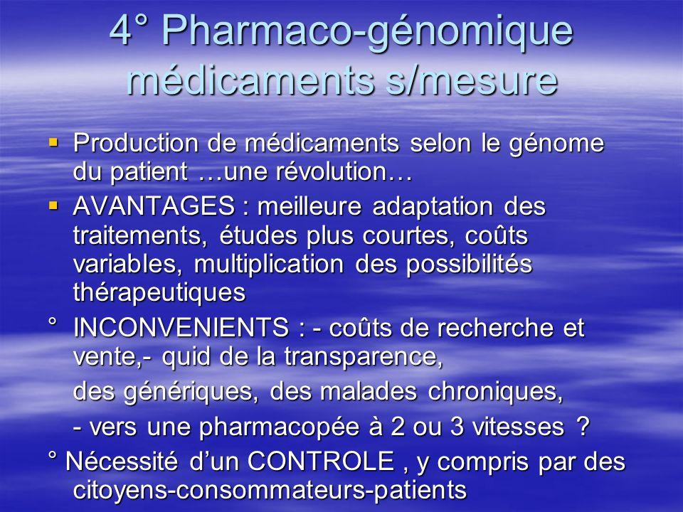 4° Pharmaco-génomique médicaments s/mesure Production de médicaments selon le génome du patient …une révolution… Production de médicaments selon le gé