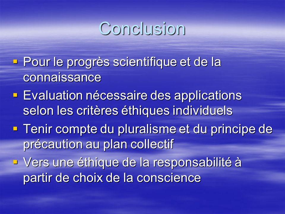 Conclusion Pour le progrès scientifique et de la connaissance Pour le progrès scientifique et de la connaissance Evaluation nécessaire des application