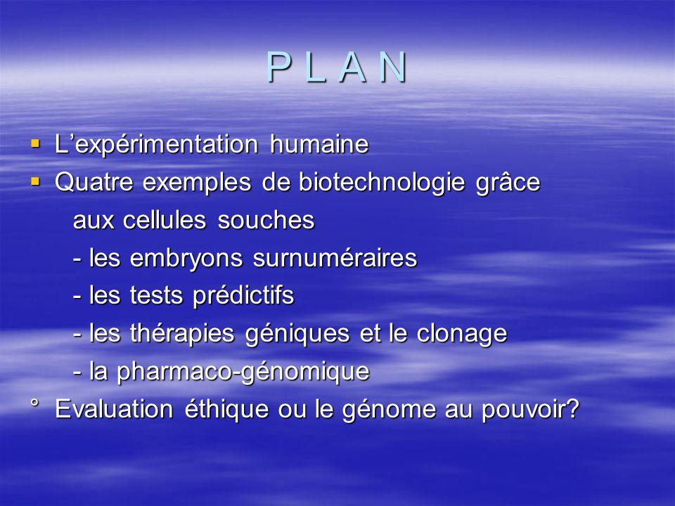 P L A N Lexpérimentation humaine Lexpérimentation humaine Quatre exemples de biotechnologie grâce Quatre exemples de biotechnologie grâce aux cellules