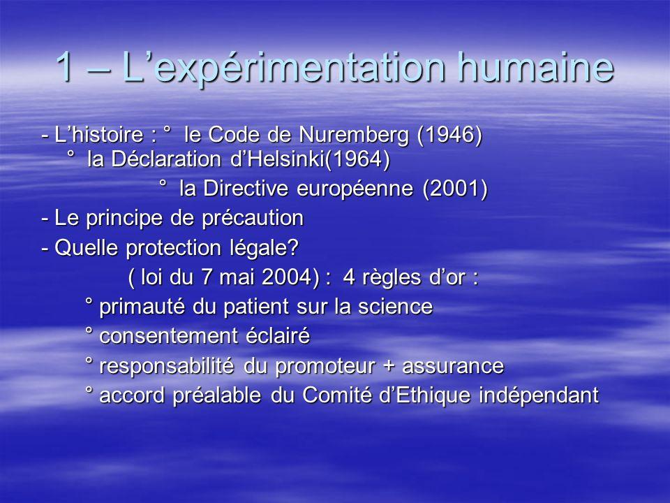 1 – Lexpérimentation humaine - Lhistoire : ° le Code de Nuremberg (1946) ° la Déclaration dHelsinki(1964) ° la Directive européenne (2001) ° la Direct