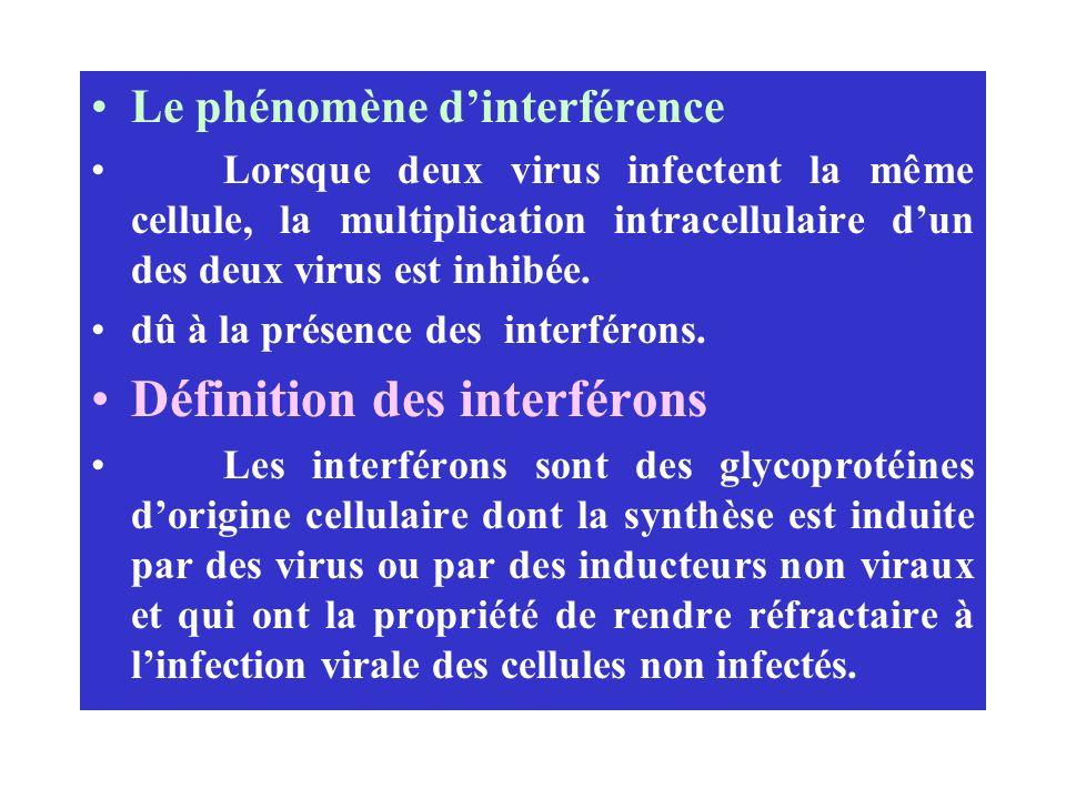 Le phénomène dinterférence Lorsque deux virus infectent la même cellule, la multiplication intracellulaire dun des deux virus est inhibée. dû à la pré