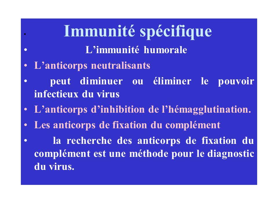 Immunité spécifique Limmunité humorale Lanticorps neutralisants peut diminuer ou éliminer le pouvoir infectieux du virus Lanticorps dinhibition de lhé
