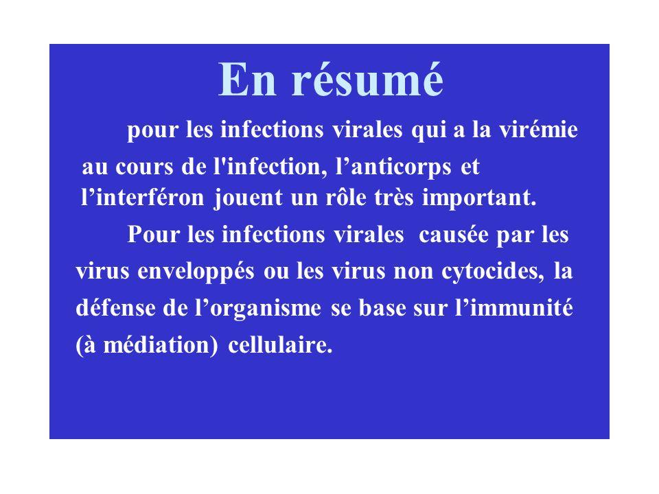 En résumé pour les infections virales qui a la virémie au cours de l'infection, lanticorps et linterféron jouent un rôle très important. Pour les infe