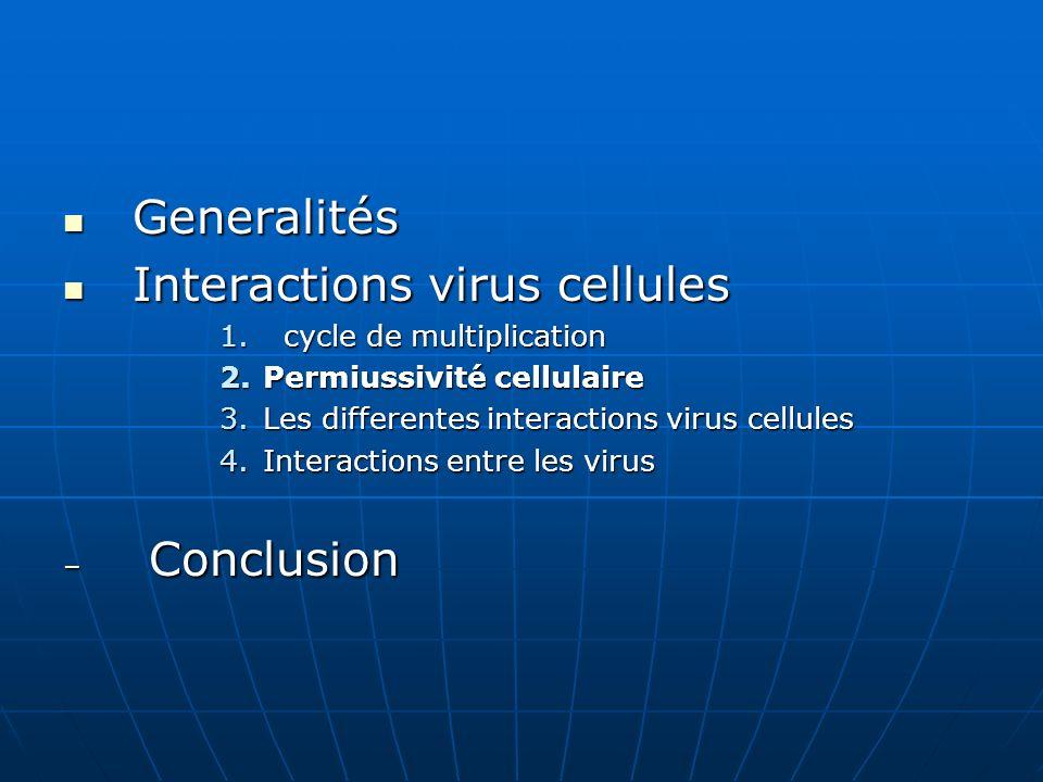 Generalités Generalités Interactions virus cellules Interactions virus cellules 1. cycle de multiplication 2.Permiussivité cellulaire 3.Les differente