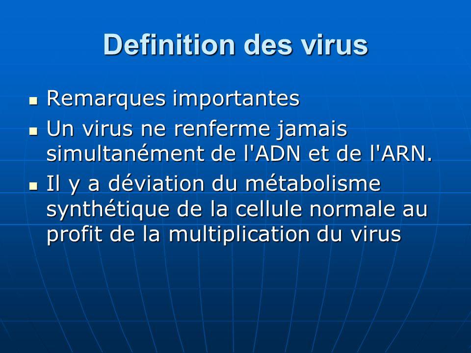 Definition des virus Remarques importantes Remarques importantes Un virus ne renferme jamais simultanément de l'ADN et de l'ARN. Un virus ne renferme