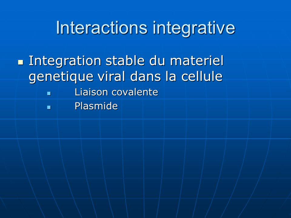 Interactions integrative Integration stable du materiel genetique viral dans la cellule Integration stable du materiel genetique viral dans la cellule