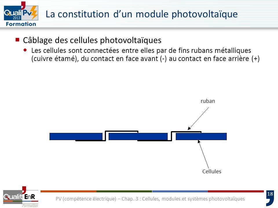 17 PV (compétence électrique) – Chap. 3 : Cellules, modules et systèmes photovoltaïques U La constitution dun module photovoltaïque Montage en série d