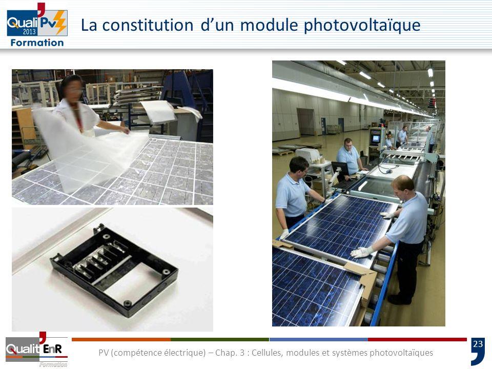 22 PV (compétence électrique) – Chap. 3 : Cellules, modules et systèmes photovoltaïques La connectique Pour les câbles inter-modules, de groupes et pr