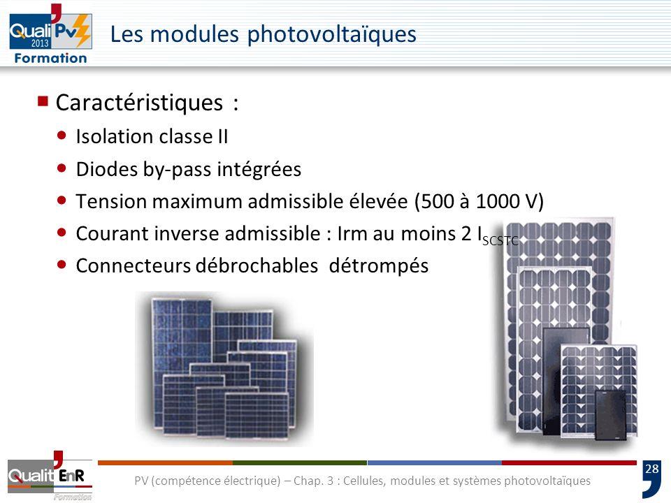 27 PV (compétence électrique) – Chap. 3 : Cellules, modules et systèmes photovoltaïques Température dun module au silicium cristallin en fonctionnemen