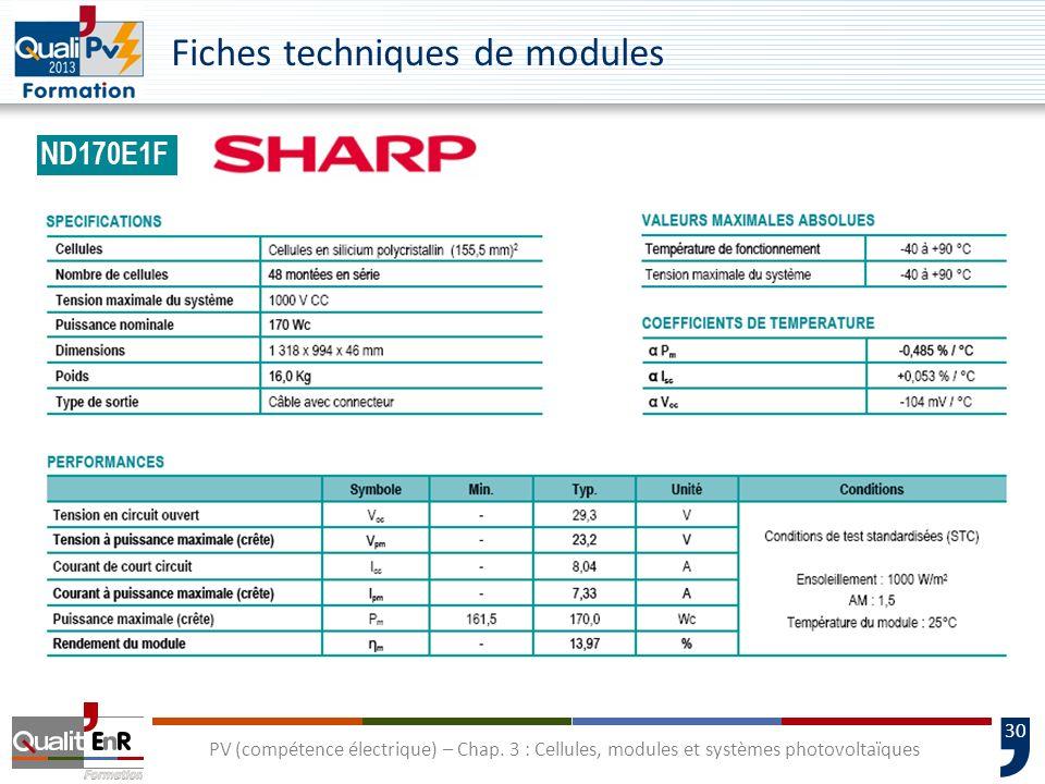 29 PV (compétence électrique) – Chap. 3 : Cellules, modules et systèmes photovoltaïques Rendement dun module PV module STC c S E P η Technologie de ce