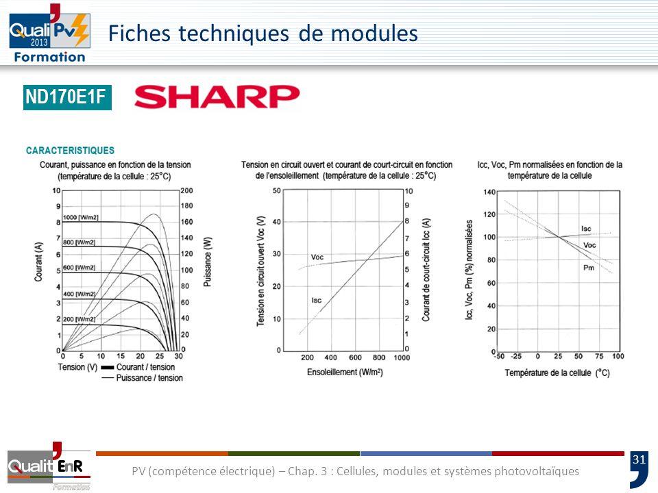30 PV (compétence électrique) – Chap. 3 : Cellules, modules et systèmes photovoltaïques Fiches techniques de modules