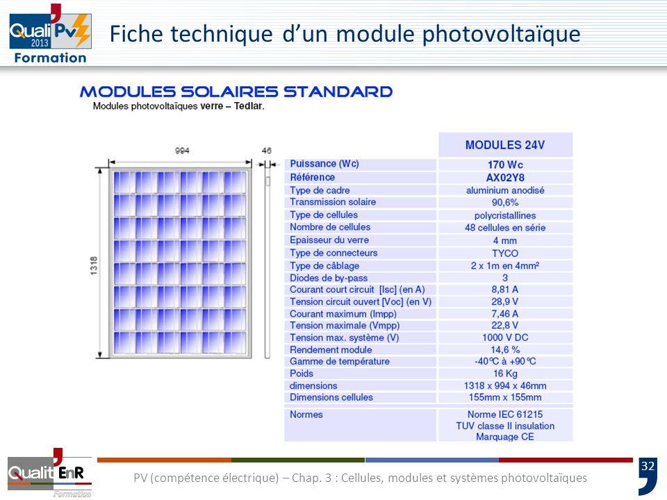 31 PV (compétence électrique) – Chap. 3 : Cellules, modules et systèmes photovoltaïques Fiches techniques de modules