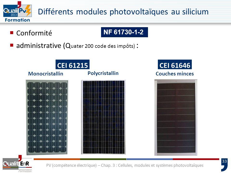32 PV (compétence électrique) – Chap. 3 : Cellules, modules et systèmes photovoltaïques Fiche technique dun module photovoltaïque