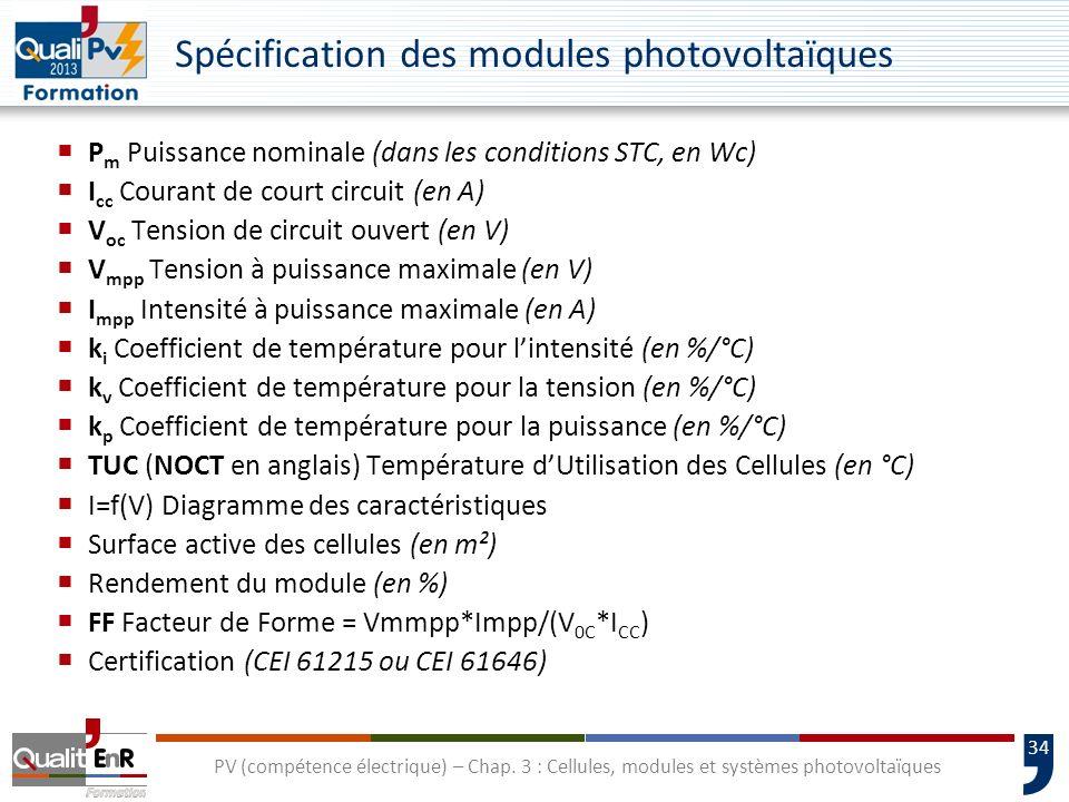 33 PV (compétence électrique) – Chap. 3 : Cellules, modules et systèmes photovoltaïques Monocristallin Polycristallin Couches minces CEI 61215CEI 6164