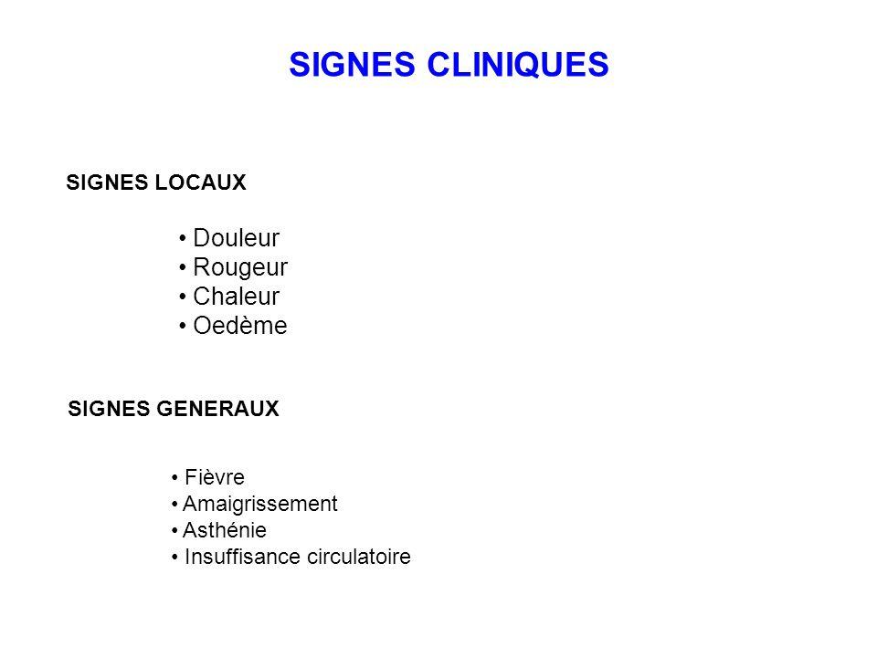 SIGNES CLINIQUES SIGNES LOCAUX SIGNES GENERAUX Douleur Rougeur Chaleur Oedème Fièvre Amaigrissement Asthénie Insuffisance circulatoire