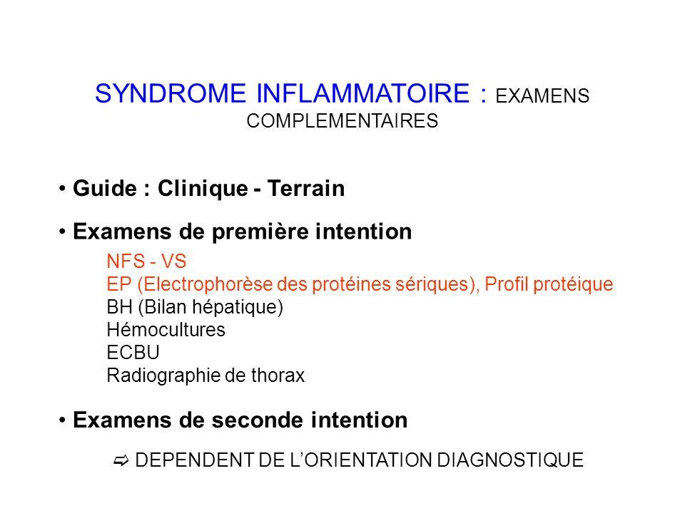 SYNDROME INFLAMMATOIRE : EXAMENS COMPLEMENTAIRES Guide : Clinique - Terrain Examens de première intention NFS - VS EP (Electrophorèse des protéines sériques), Profil protéique BH (Bilan hépatique) Hémocultures ECBU Radiographie de thorax Examens de seconde intention DEPENDENT DE LORIENTATION DIAGNOSTIQUE