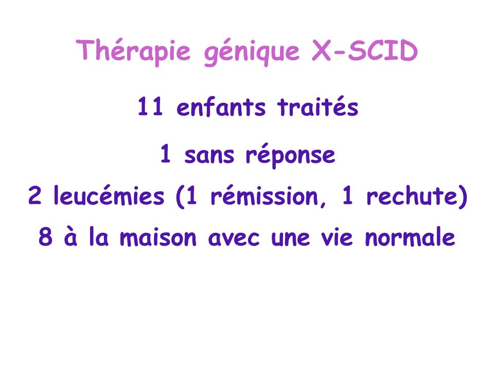 Thérapie génique X-SCID 11 enfants traités 1 sans réponse 2 leucémies (1 rémission, 1 rechute) 8 à la maison avec une vie normale