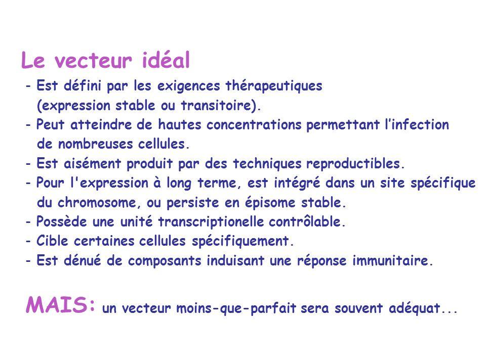 Le vecteur idéal - Est défini par les exigences thérapeutiques (expression stable ou transitoire).