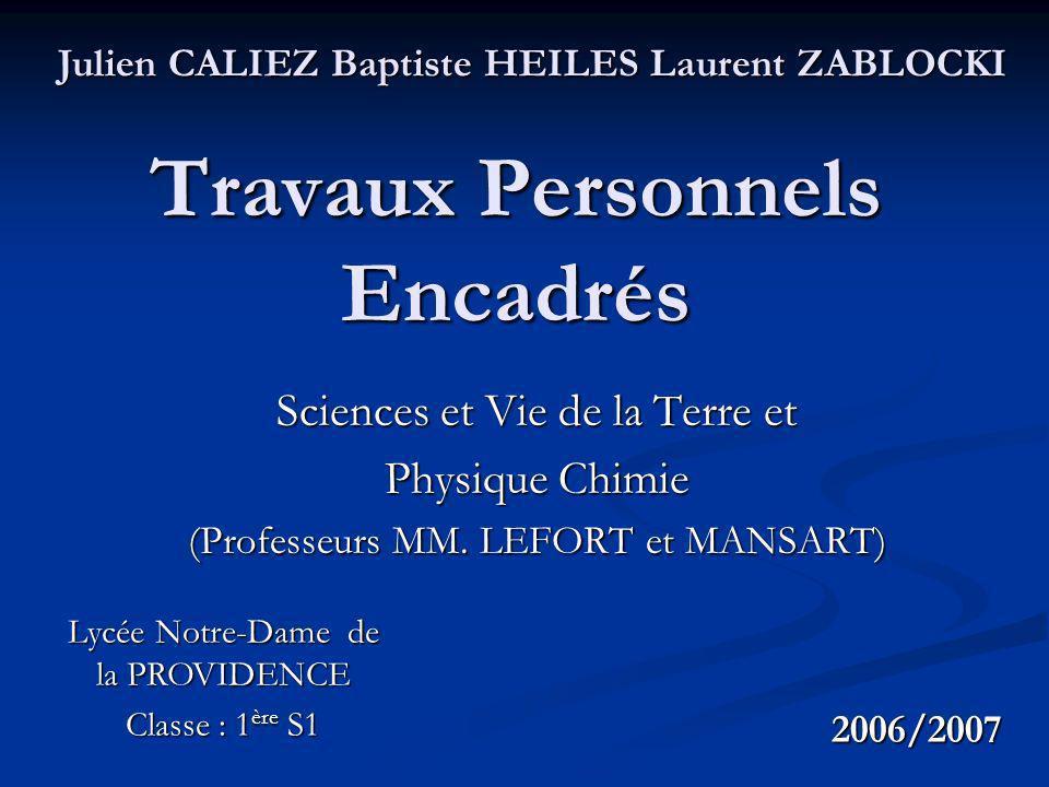 Travaux Personnels Encadrés Sciences et Vie de la Terre et Physique Chimie (Professeurs MM.