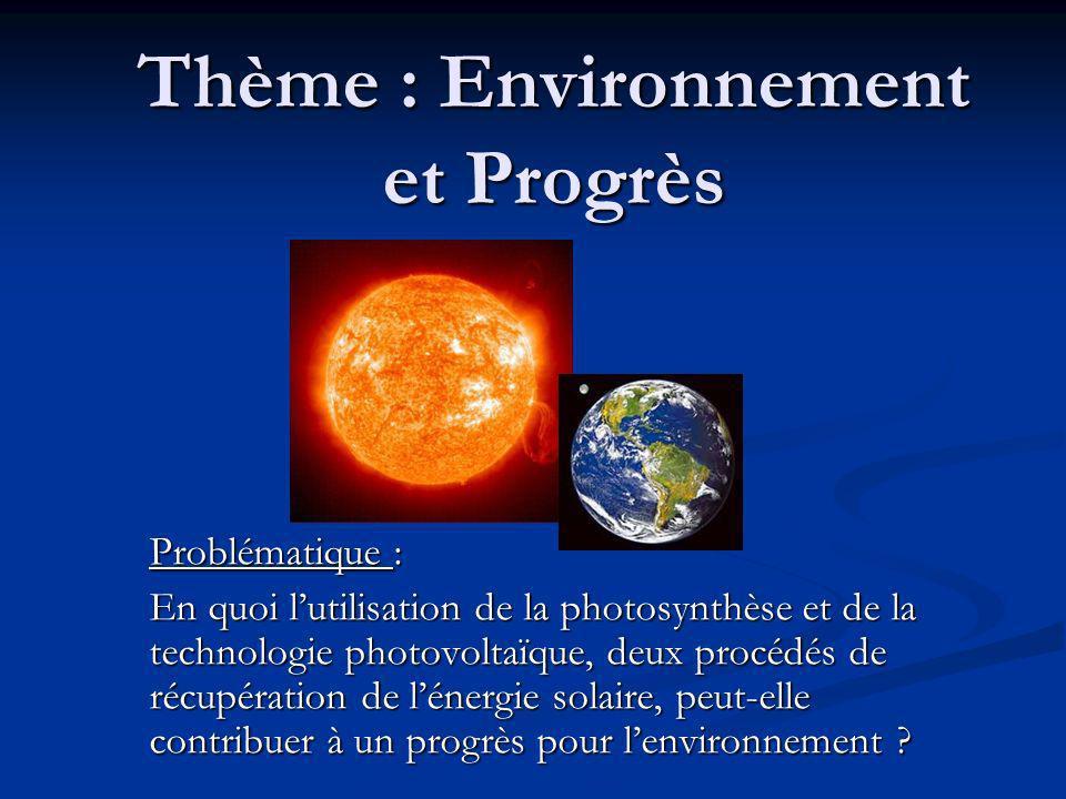 Thème : Environnement et Progrès Problématique : En quoi lutilisation de la photosynthèse et de la technologie photovoltaïque, deux procédés de récupération de lénergie solaire, peut-elle contribuer à un progrès pour lenvironnement ?