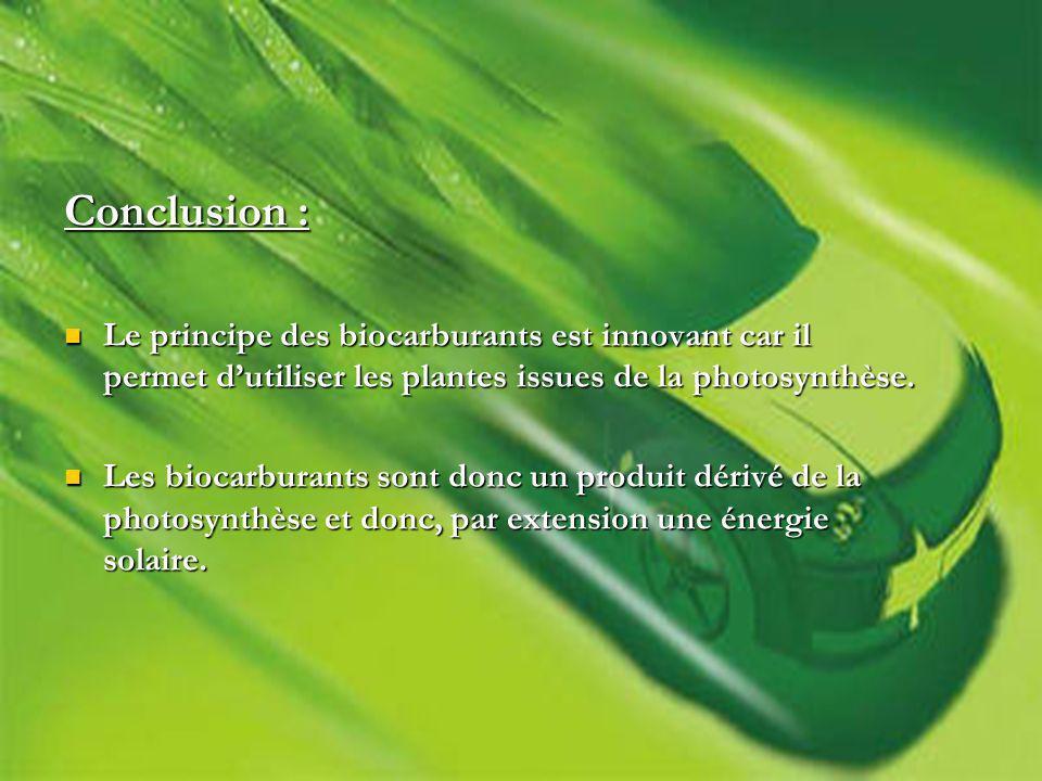 Conclusion : Le principe des biocarburants est innovant car il permet dutiliser les plantes issues de la photosynthèse.