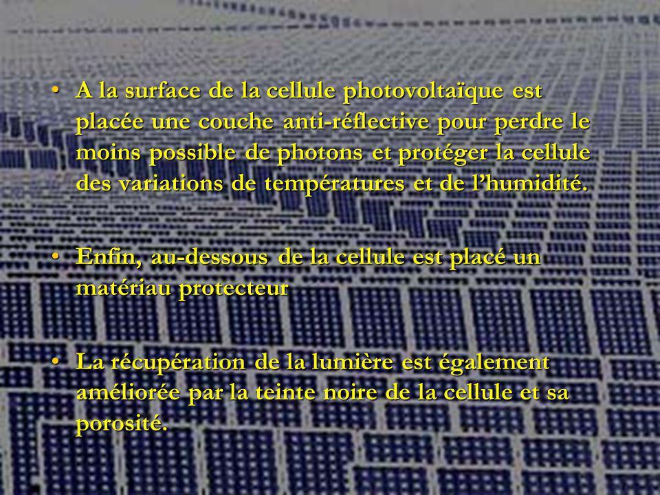 A la surface de la cellule photovoltaïque est placée une couche anti-réflective pour perdre le moins possible de photons et protéger la cellule des variations de températures et de lhumidité.A la surface de la cellule photovoltaïque est placée une couche anti-réflective pour perdre le moins possible de photons et protéger la cellule des variations de températures et de lhumidité.
