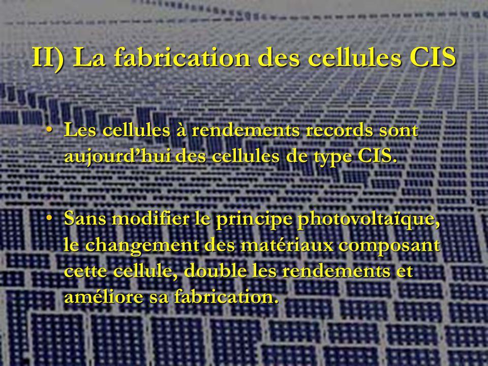 II) La fabrication des cellules CIS Les cellules à rendements records sont aujourdhui des cellules de type CIS.Les cellules à rendements records sont aujourdhui des cellules de type CIS.
