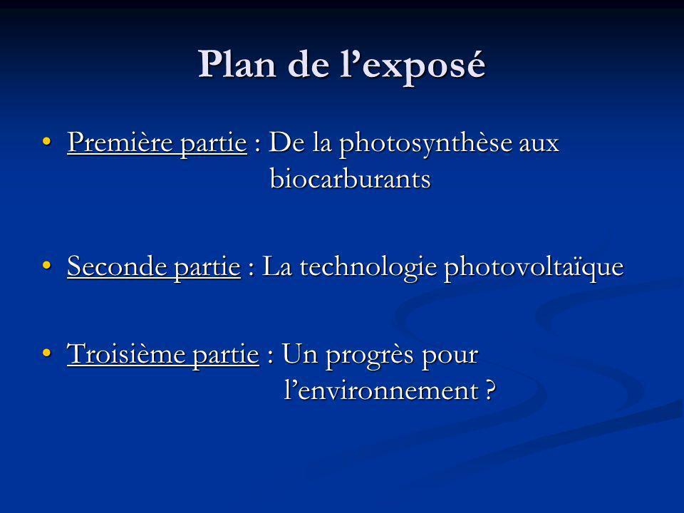 Plan de lexposé Première partie : De la photosynthèse aux biocarburantsPremière partie : De la photosynthèse aux biocarburants Seconde partie : La technologie photovoltaïqueSeconde partie : La technologie photovoltaïque Troisième partie : Un progrès pour lenvironnement ?Troisième partie : Un progrès pour lenvironnement ?