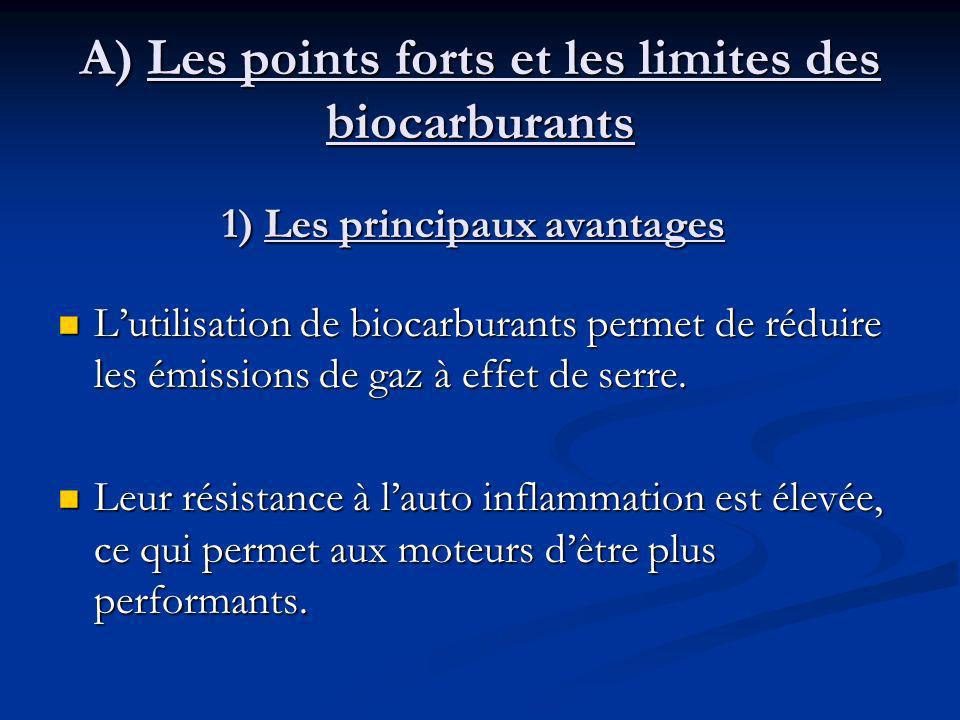 A) Les points forts et les limites des biocarburants Lutilisation de biocarburants permet de réduire les émissions de gaz à effet de serre.