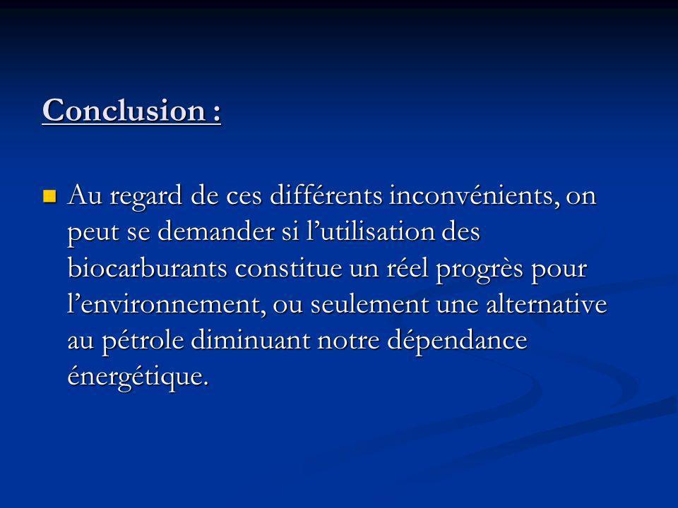 Conclusion : Au regard de ces différents inconvénients, on peut se demander si lutilisation des biocarburants constitue un réel progrès pour lenvironnement, ou seulement une alternative au pétrole diminuant notre dépendance énergétique.