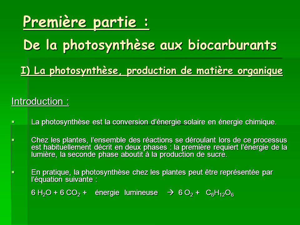 Première partie : De la photosynthèse aux biocarburants Introduction : La photosynthèse est la conversion dénergie solaire en énergie chimique.
