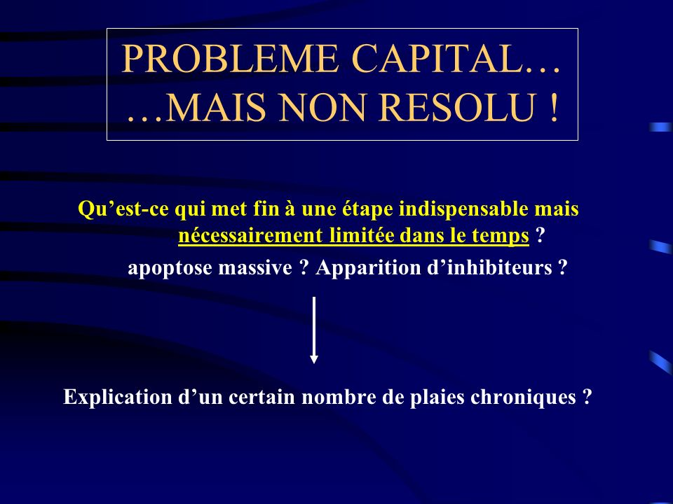 PROBLEME CAPITAL… …MAIS NON RESOLU .