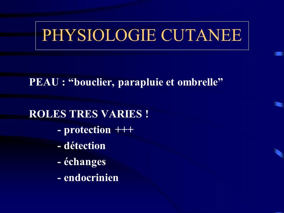 PHYSIOLOGIE CUTANEE PEAU : bouclier, parapluie et ombrelle ROLES TRES VARIES ! - protection +++ - détection - échanges - endocrinien