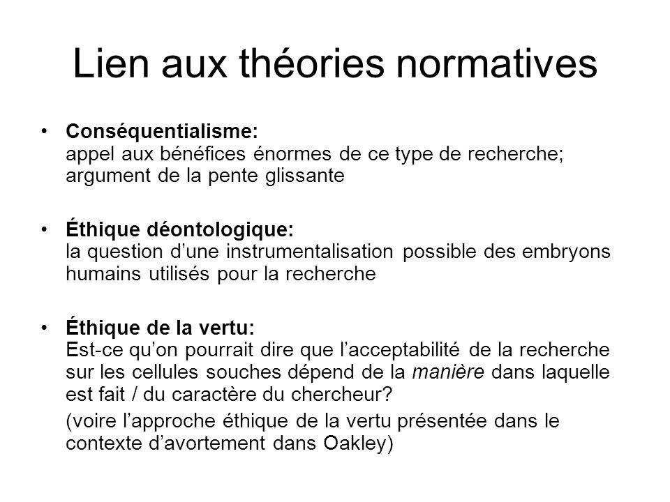 Lien aux théories normatives Conséquentialisme: appel aux bénéfices énormes de ce type de recherche; argument de la pente glissante Éthique déontologi