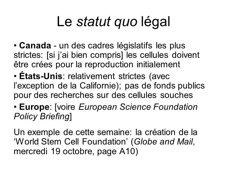 Le statut quo légal Canada - un des cadres législatifs les plus strictes: [si jai bien compris] les cellules doivent être crées pour la reproduction i