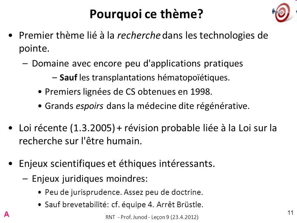 RNT - Prof. Junod - Leçon 9 (23.4.2012) 11 Pourquoi ce thème? Premier thème lié à la recherche dans les technologies de pointe. –Domaine avec encore p