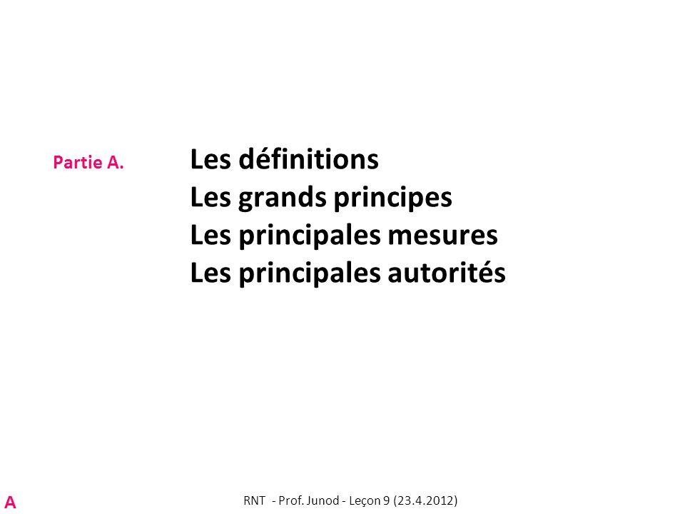 Partie A. Les définitions Les grands principes Les principales mesures Les principales autorités RNT - Prof. Junod - Leçon 9 (23.4.2012) A