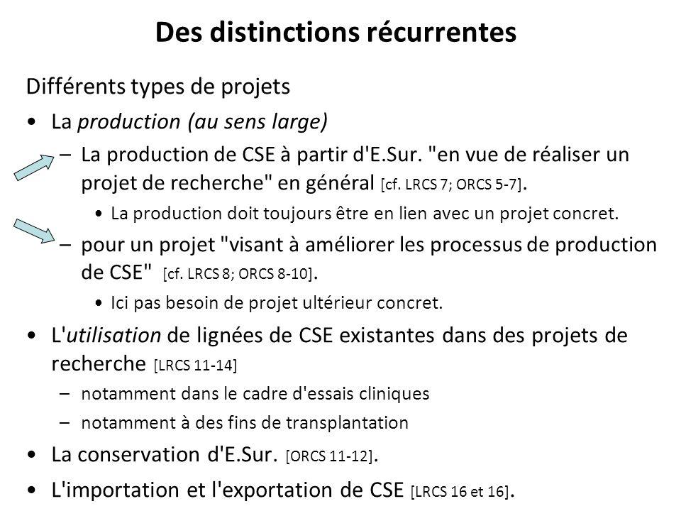 Des distinctions récurrentes Différents types de projets La production (au sens large) –La production de CSE à partir d'E.Sur.