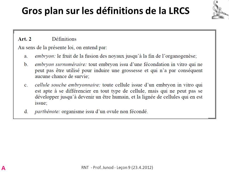 Gros plan sur les définitions de la LRCS A RNT - Prof. Junod - Leçon 9 (23.4.2012)