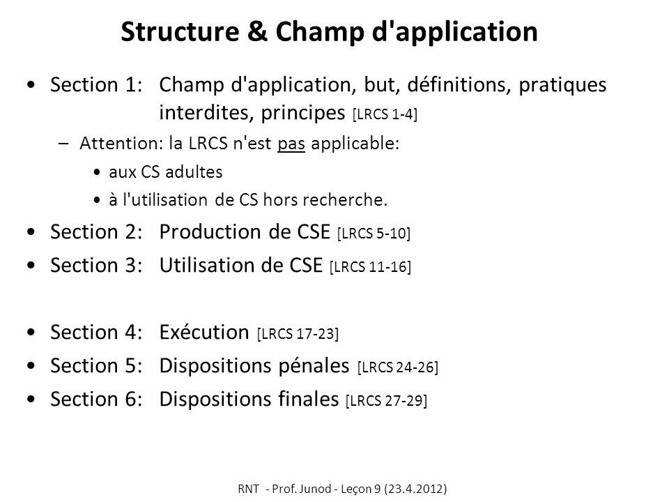 Structure & Champ d'application Section 1: Champ d'application, but, définitions, pratiques interdites, principes [LRCS 1-4] –Attention: la LRCS n'est
