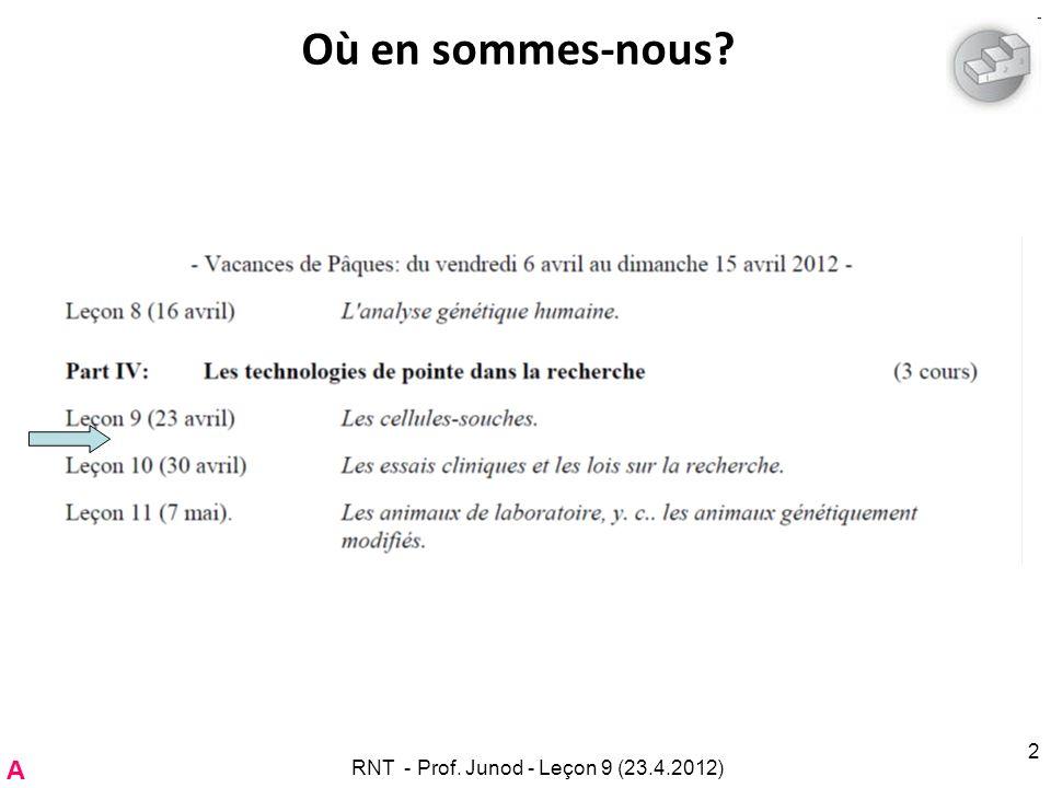 Gros plan sur l information à fournir RNT - Prof. Junod - Leçon 9 (23.4.2012)