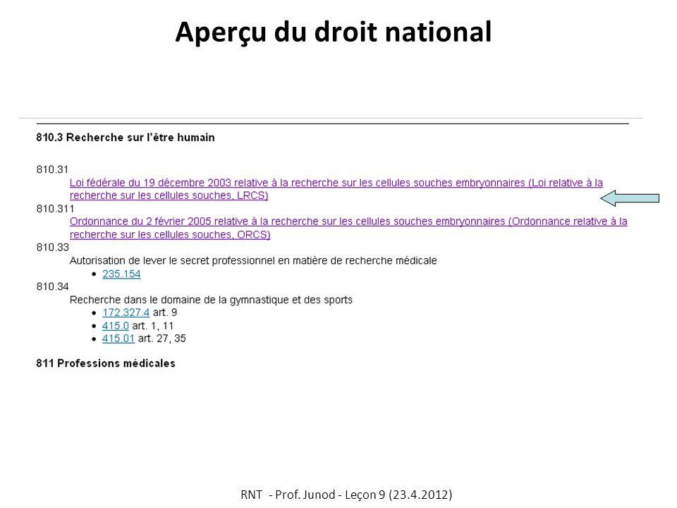 Aperçu du droit national RNT - Prof. Junod - Leçon 9 (23.4.2012)