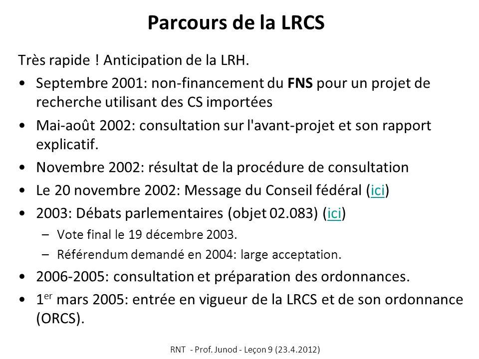 Parcours de la LRCS Très rapide ! Anticipation de la LRH. Septembre 2001: non-financement du FNS pour un projet de recherche utilisant des CS importée
