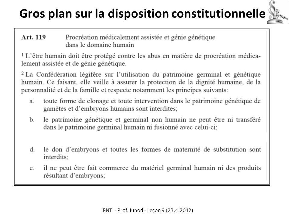 Gros plan sur la disposition constitutionnelle RNT - Prof. Junod - Leçon 9 (23.4.2012)