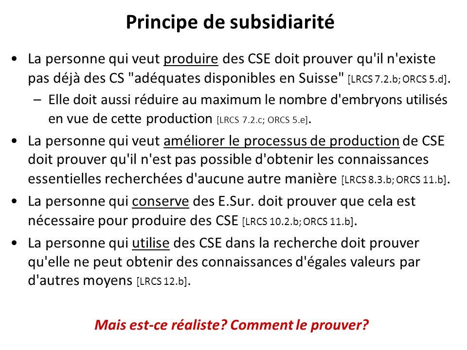 Principe de subsidiarité La personne qui veut produire des CSE doit prouver qu'il n'existe pas déjà des CS