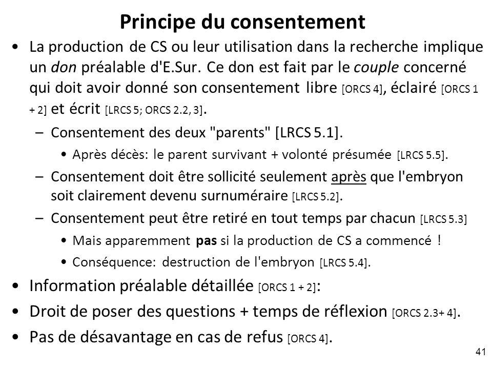 Principe du consentement La production de CS ou leur utilisation dans la recherche implique un don préalable d'E.Sur. Ce don est fait par le couple co