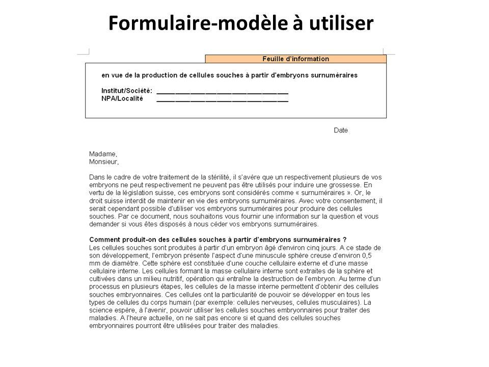 Formulaire-modèle à utiliser
