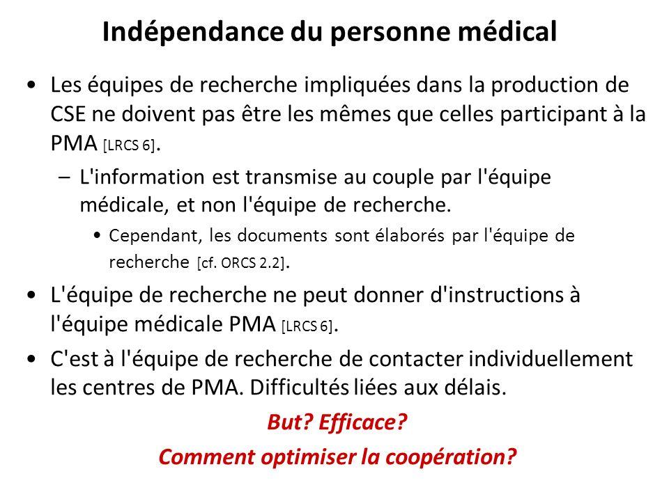 Indépendance du personne médical Les équipes de recherche impliquées dans la production de CSE ne doivent pas être les mêmes que celles participant à