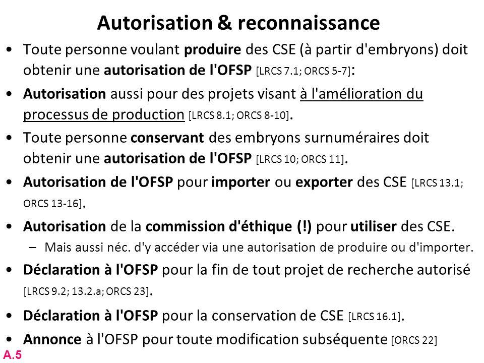 Autorisation & reconnaissance Toute personne voulant produire des CSE (à partir d'embryons) doit obtenir une autorisation de l'OFSP [LRCS 7.1; ORCS 5-